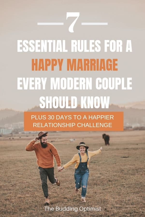 Rules for a happy marriage Pinterest image man and woman running across a grass field